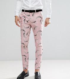Супероблегающие строгие брюки с цветочным принтом ASOS TALL - Синий