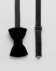 Черный бархатный галстук-бабочка ASOS - Черный
