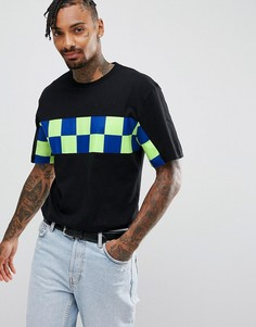Черная футболка с шахматной вставкой Granted - Черный