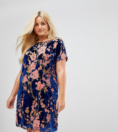 Бархатное платье-футболка в стиле oversize с цветочным принтом Alice & You - Темно-синий