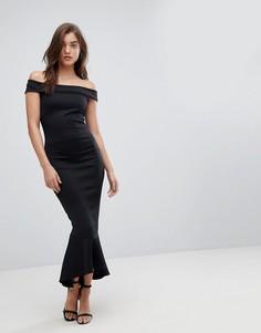Платье макси с открытыми плечами Lipsy - Черный