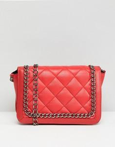 Стеганая сумка на плечо с ремешком-цепочкой ASOS - Красный
