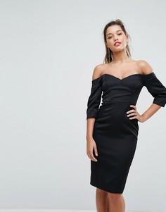 Платье миди с пышными рукавами Forever New - Черный