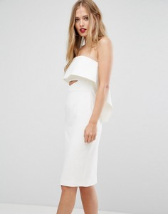 Платье миди с открытыми плечами и оборками Forever New - Кремовый