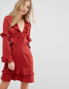 Платье мини с вырезами и рюшами Forever New - Оранжевый