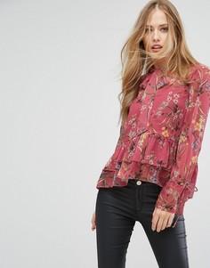 Шифоновая блузка с принтом и завязкой Forever New - Мульти