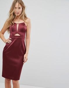 Атласное платье миди с вырезом Forever New - Красный