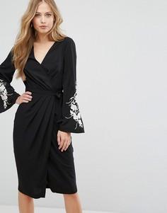 Платье миди с запахом и вышивкой на рукавах Forever New - Черный