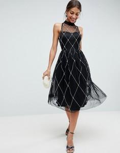 Платье миди для выпускного с высоким воротом и искусственным жемчугом ASOS PREMIUM - Черный