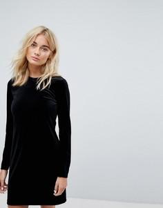 Бархатное платье-футболка Weekday - Черный
