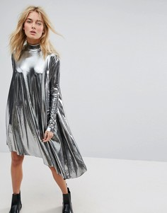 Асимметричное платье металлик Weekday - Черный