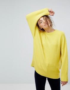 Мягкий трикотажный джемпер-туника Weekday - Желтый