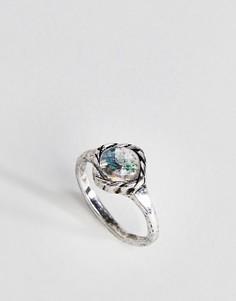 Кольцо на мизинец с квадратным камнем ASOS Mermaid - Серебряный