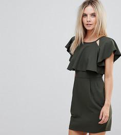 Двухслойное платье мини с расклешенными рукавами ASOS PETITE - Зеленый