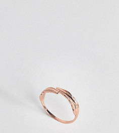 Кольцо из позолоченного серебра с отделкой в форме пера ASOS - Медный