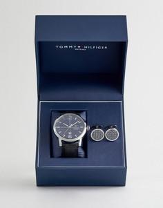 Набор из часов с черным кожаным ремешком и запонок Tommy Hilfiger - Черный