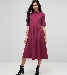 Свободное хлопковое платье миди ASOS TALL - Красный