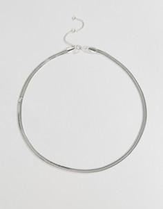 Ожерелье из цепочки-змейки Weekday - Серебряный
