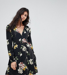 Чайное платье с цветочным принтом Glamorous Tall - Черный