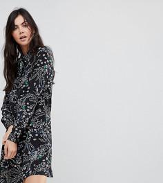 Платье-рубашка с длинными рукавами и цветочным принтом Glamorous Tall - Черный