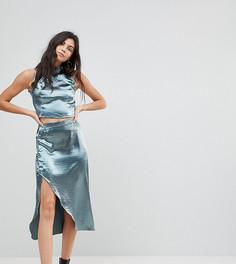 Комбинируемая атласная юбка миди с запахом Glamorous Tall - Синий