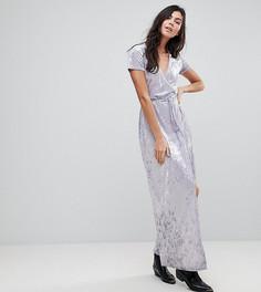 Платье макси из мятого бархата с запахом Glamorous Tall - Синий