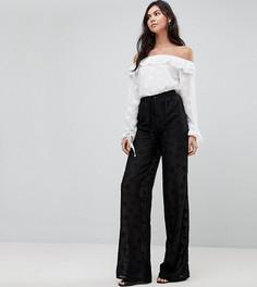 Широкие брюки с вышивкой Glamorous Tall - Черный