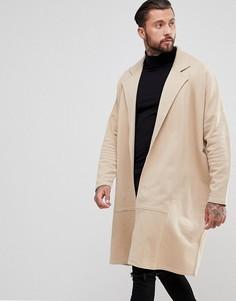 Длинное трикотажное пальто ASOS - Бежевый