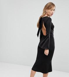 Платье миди с открытой спиной и бантом Silver Bloom - Черный
