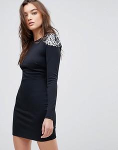 Облегающее платье мини с открытой спиной и отделкой ASOS - Черный