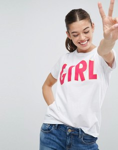 Футболка с принтом Girl ASOS - Белый