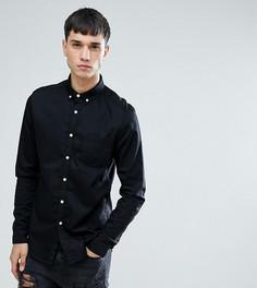 Черная приталенная джинсовая рубашка ASOS TALL - Черный