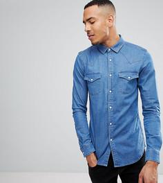 Выбеленная джинсовая рубашка зауженного кроя в стиле вестерн ASOS TALL - Синий