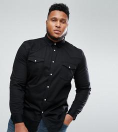Черная облегающая джинсовая рубашка в стиле вестерн ASOS PLUS - Черный