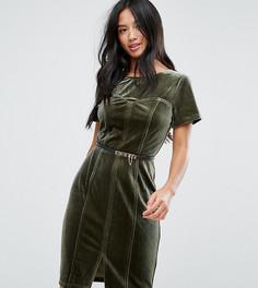 Бархатное платье-футляр с короткими рукавами Paper Dolls Petite - Зеленый