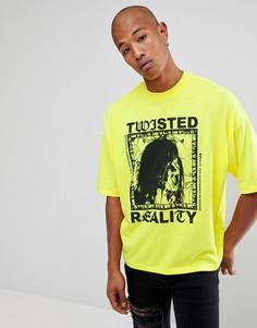Плотная оверсайз-футболка с принтом ASOS - Желтый