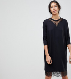 Платье-футболка оверсайз с рукавами летучая мышь и кружевом ASOS TALL - Черный