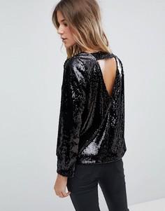 Блузка с пайетками и открытой спиной Boohoo - Черный