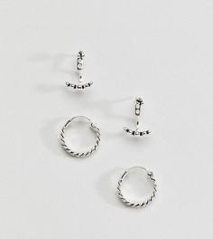 Набор из 2 пар серебряных серег ASOS - Серебряный