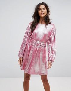 Короткое приталенное платье с эффектом металлик Vero Moda - Розовый
