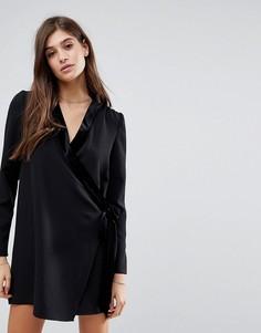 Бархатное платье мини с запахом Vero Moda - Черный
