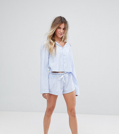 Пижама в синюю полоску с шортами Hey Peachy - Синий