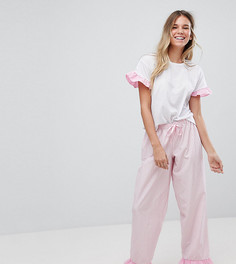 Пижама со штанами и отделкой оборками Hey Peachy It Was All A Dream - Розовый