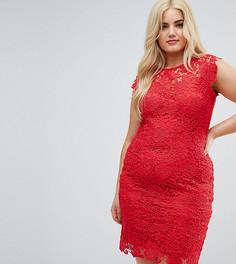 Платье миди из кроше с высоким воротом Paper Dolls Plus - Красный