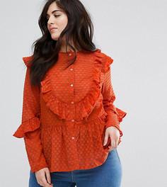 Кружевная рубашка с оборками Lovedrobe Dotty - Красный