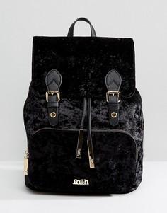Бархатный рюкзак с двумя пряжками Faith - Черный