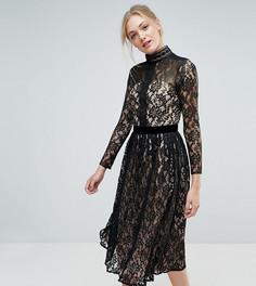Кружевное платье миди Little Mistress Tall - Черный