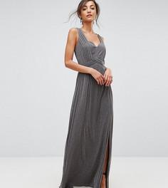 Трикотажное платье макси металлик с запахом Little Mistress Tall - Серебряный