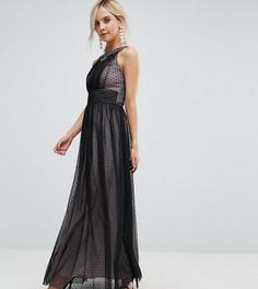 Платье макси из сетки в горошек с отделкой на лифе Little Mistress Petite - Черный