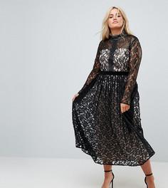 Кружевное платье миди Little Mistress Plus - Черный